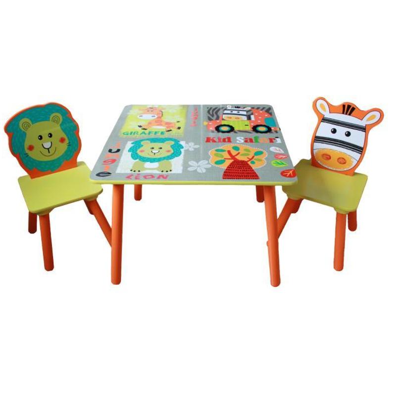 Sedie E Tavoli In Legno Per Bambini.Tavolo Con 2 Sedie Giungla In Legno